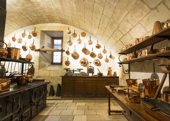 Chenonceaux castle interior, view of kitchen