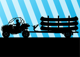 Yacht boat trailer vector background landscape with all terrain