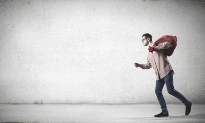 Man with red bag