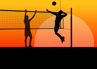 Active young men volleyball player sport silhouettes in abstract