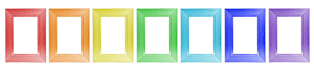 collage colorful wooden frames on white background