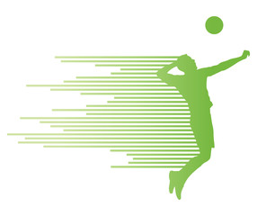 Volleyball player vector silhouette background concept