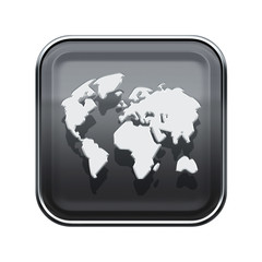 World icon glossy grey, isolated on white background