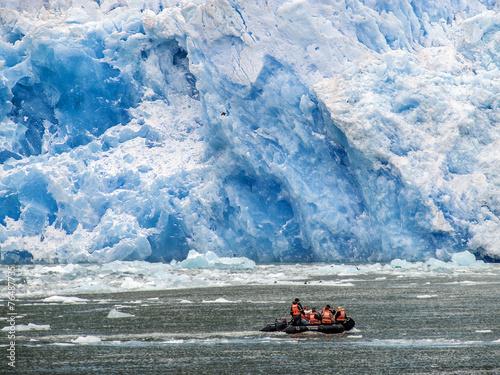 Spoed canvasdoek 2cm dik Gletsjers Schlauchboot am Gletscher San Rafael
