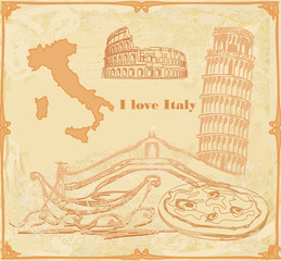 Symbols of Italy vintage card