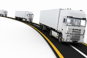 White Trucks on freeway. Concept of logistics