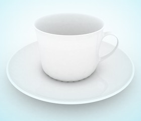 Empty white tea or coffee cup . 3d illustration