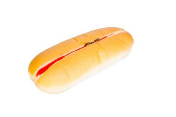 Strawberry raisin flavour cream filled hotdog bread