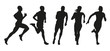 Set of silhouettes of runners. Collection of vector outlines of