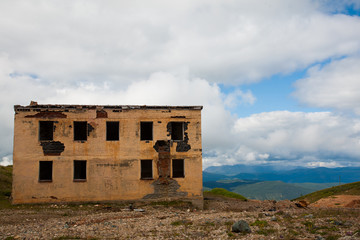 The old mine is destroyed in the Altai Mountains