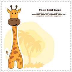 Fun giraffe, greeting card, vector illustration