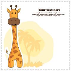 Fun giraffe, greeting card, vector illustration