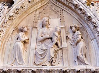 Venice - Relief of Madonna on the Church Santa Maria  dei Frari.