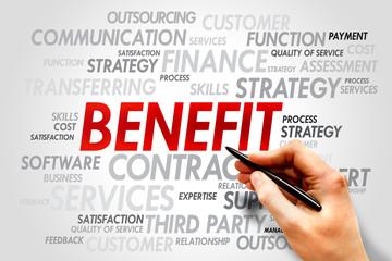 BENEFIT word cloud, business concept