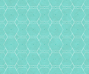 Teal and White Hexagon Tiles Pattern Repeat Background