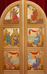 Bruges - door to presbytery with the icons in orthodox church