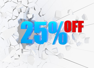 25 percent discount icon on white background
