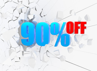 90 percent discount icon on white background