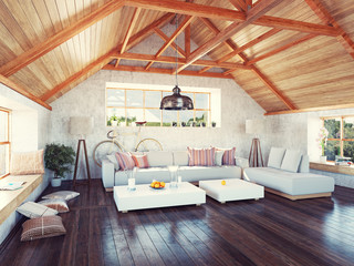 beautiful modern attic interior. 3d design concept.