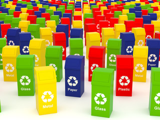 Recycle concept with colorful garbage bins with recycle mark