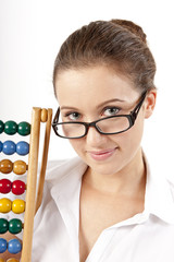 Young Woman With Abacus