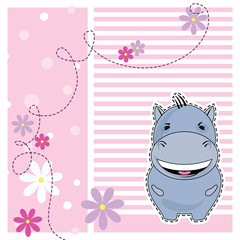 Funny Hippo, greeting card, vector illustration