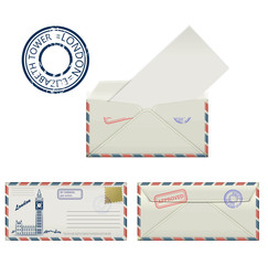 Set of envelopes from London with a painted the Elizabeth tower
