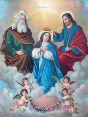 Typical catholic image of Coronation of Virgin Mary