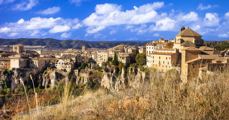 medieval Cuenca, town on rocks, Spain