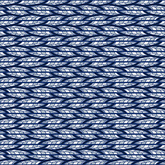 Seamless abstract blue pattern of horizontal doodles.