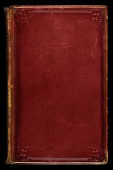 Red leather antique book cover