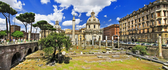 great Rome, panorama with ruins in Trojian market