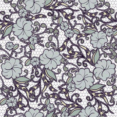 Seamless floral lace background in dark blue tones.