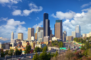 Seattle skyline with urban skyscrapers, WA, United States