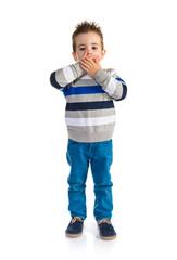 Kid doing surprise gesture