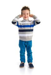 Kid covering his ears