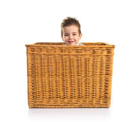 Cute kid inside basket