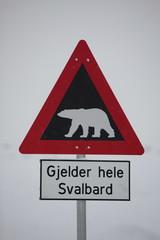 Warnschild Eisbär Spitzbergen