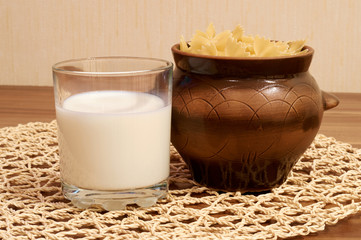 Pan and glass with milk
