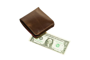 Leather wallet with dollar on white background