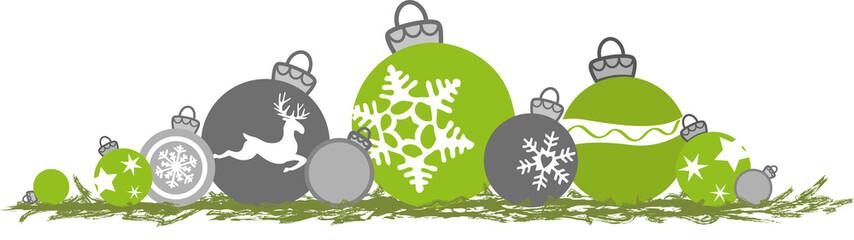 Grüne und graue Weihnachtskugeln, Vektor