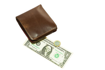Leather wallet with dollar and euro on white background