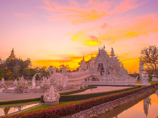 White temple in evening sky