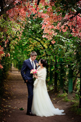 Bride and groom standing on autumn alley