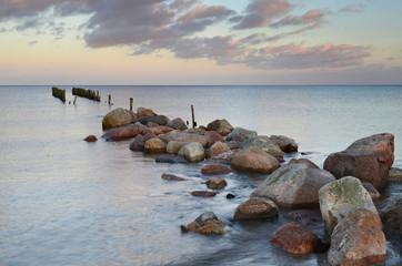 Old broken pier in the Baltic Sea, Latvia