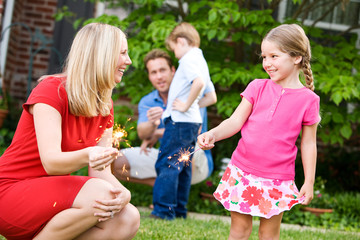 Summer: Mom Teaches Girl to Hold Sparklers