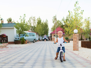 Pretty adorable little blond boy with bicycle outdoors.