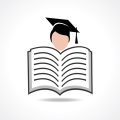 Open book icon with graduate student stock vector