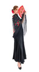 Flamenco woman holding a fan
