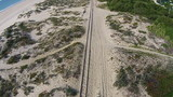 Railroad on Beach, aerial view from quadcopter poster